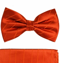 Paul Malone Bow Tie and Pocket Square Set . Burnt Orange . 100% Silk (BT622H)
