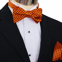 Paul Malone Bow Tie and Pocket Square Set . Orange and Navy . 100% Silk (BT310H)