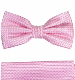 Paul Malone Bow Tie and Pocket Square Set . Pink . 100% Silk (BT501H)