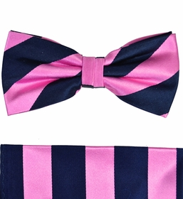 Paul Malone Bow Tie and Pocket Square Set . Pink and Navy Stripes . 100% Silk (BT453H)