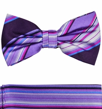 Paul Malone Bow Tie and Pocket Square Set . Purple, White and Blue . 100% Silk (BT251H)