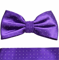 Paul Malone Bow Tie and Pocket Square Set . Purple with White Polka Dots (BT806H)