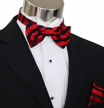 Paul Malone Bow Tie and Pocket Square Set . Red and Black Stripes . 100% Silk (BT452H)