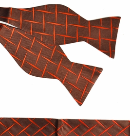 Paul Malone Bow Tie and Pocket Square Set . Rust Brown . 100% Silk (BT412H)
