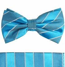 Turquoise and White Silk Bow Tie Set by Paul Malone