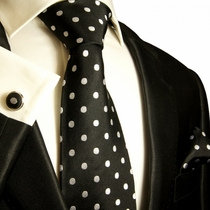 Paul Malone Necktie, Pocket Square and Cufflinks . 100% Silk . Black and White Polka Dots (992CH)