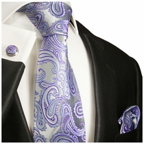Paul Malone Silk Necktie Set . 100% Silk . Purple Paisley (996CH)