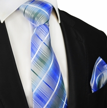 Paul Malone Silk Tie and Pocket Square, Blue Plaids