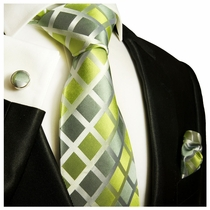 Paul Malone Silk Tie Set - Green (460CH)