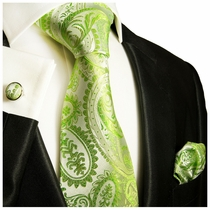 Paul Malone Silk Tie Set - Green Paisley (805CH)