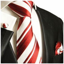 Paul Malone Silk Tie Set, Red and White Stripes (121CH)