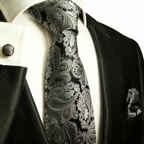 Paul Malone Silktie Set - Black and Silver Paisley (627CH)