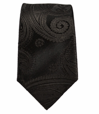 Paul Malone Slim Necktie . 2.5' Slim . Black Paisley