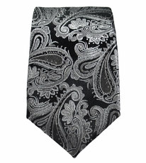Paul Malone SLIM TIE . 2.5' wide . 100% Silk . Black and Silver Paisley