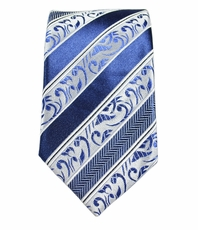 Paul Malone SLIM TIE . 2.5' wide . 100% Silk . Blue Stripes