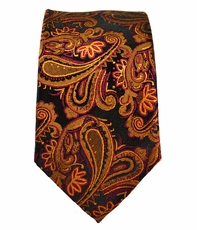 Paul Malone SLIM TIE . 2.5' wide . 100% Silk . Bronze and Black Paisley