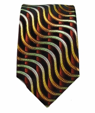 Paul Malone SLIM TIE . 2.5' wide . 100% Silk . Brown and Gold