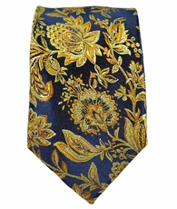 Paul Malone SLIM TIE . 2.5' wide . 100% Silk . Gold and Navy