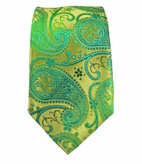 Paul Malone SLIM TIE . 2.5' wide . 100% Silk . Green and Gold Paisley