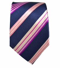 Navy and Pink Slim Silk Tie by Paul Malone