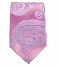Paul Malone SLIM TIE . 2.5' wide . 100% Silk . Pink and Blue Paisley