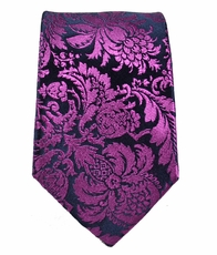 Paul Malone SLIM TIE . 2.5' wide . 100% Silk . Purple and Navy