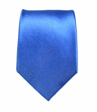 Paul Malone Slim Tie . 2.5' wide . Solid Blue
