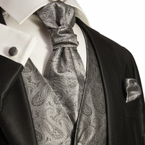 Paul Malone Tuxedo Vest Set , Silver Gray Paisleys (V30)