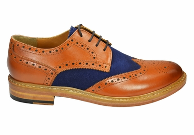 Paul Malone Wing Tip Spectators , Brown and Navy