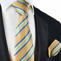 Peach Cobbler Striped Silk Tie and Pocket Square by Paul Malone