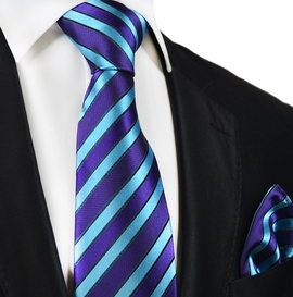 Petunia and Curacao Striped Silk Tie and Pocket Square by Paul Malone