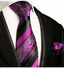Pink and Black Silk Tie Set by Paul Malone