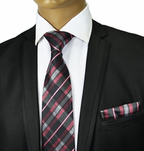 Pink and Black Silk Tie Set . Paul Malone Red Line