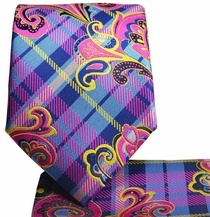 Pink and Blue Paisley Men's Tie and Pocket Square