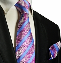 Pink and Blue Silk Tie and Pocket Square . Paul Malone