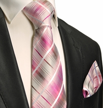 Pink and Gray Silk Necktie Set . Paul Malone Red Line