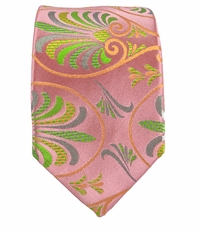 Pink and Green Slim Silk Tie by Paul Malone
