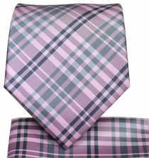 Pink and Grey Necktie and Pocket Square Set