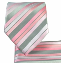 Pink and Grey Striped Necktie and Pocket Square