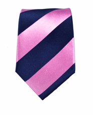 Pink and Navy Paul Malone Slim Silk Tie