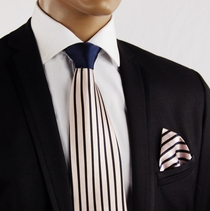 Pink and Navy Silk Tie Set with Contrast Knot . Steven Land (S2162Pink)