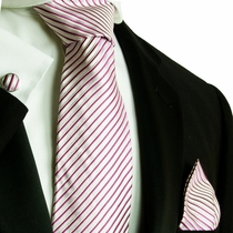 Pink and Silver Striped Silk Necktie Set by Paul Malone (796CH)