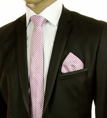 Pink and White SLIM Silk Tie Set by Paul Malone (Slim796H)