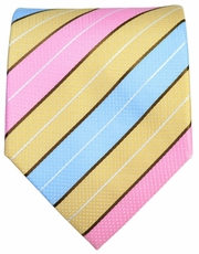 Pink, Blue and Mimosa Striped Men's Tie