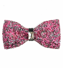 Pink Crystal Bow Tie