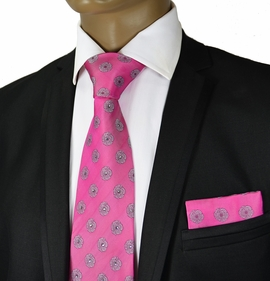 Pink Crystal Silk Tie a. Pocket Square by Steven Land