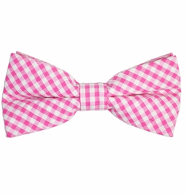 Pink Gingham Cotton Bow Tie by Paul Malone Red Line