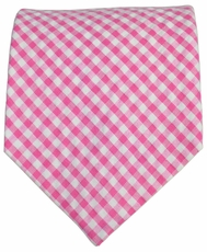 Pink Gingham Cotton Necktie by Paul Malone Red Line