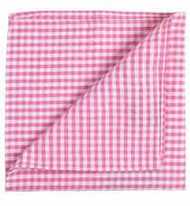 Pink Gingham Cotton Pocket Square by Paul Malone