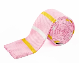 Pink, Gold and White Knit Tie by Paul Malone (KN668)